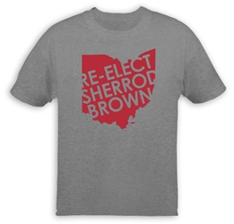 "T-shirt: ""Re-elect Sherrod Brown"" red Ohio (grey shirt) Sherrod Brown T-Shirt"