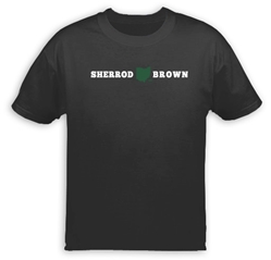 T-Shirt: Green Ohio logo (black shirt) Sherrod Brown T-Shirt